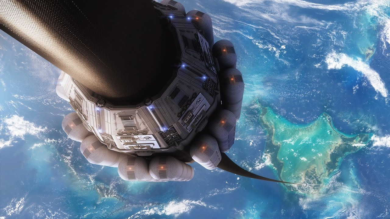 An artists' concept of a space elevator moving along a long tether between its base on a Pacific island and a space station.