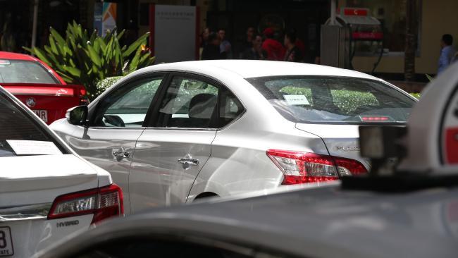 Uber congestion in Albert St, Brisbane CBD. Picture: Annette Dew