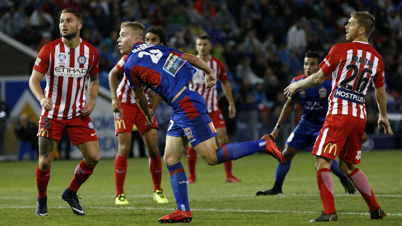 Riley McGree watches his wonder strike arc towards the goal. Picture: Darren Pateman/AAP