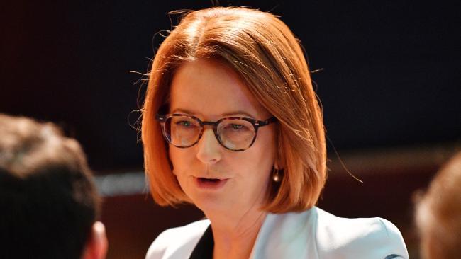 Former prime minister Julia Gillard spoke at Adelaide University's Bonython Hall.