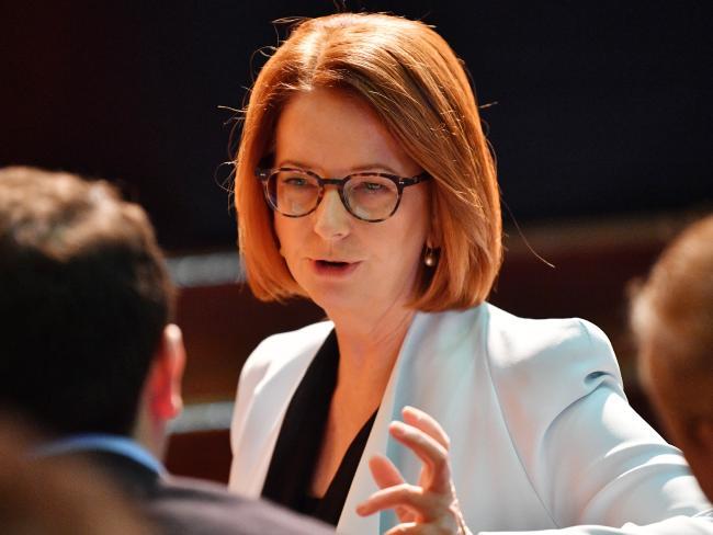 Former prime minister Julia Gillard outside at Adelaide University's Bonython Hall before her speech.