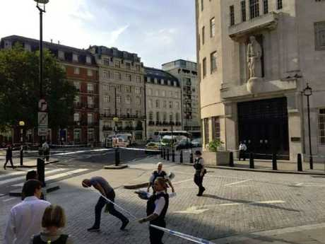 The scene outside of the BBC after a bomb scare. Picture: Twitter