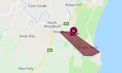 Homes around Evans Head are without power this afternoon.