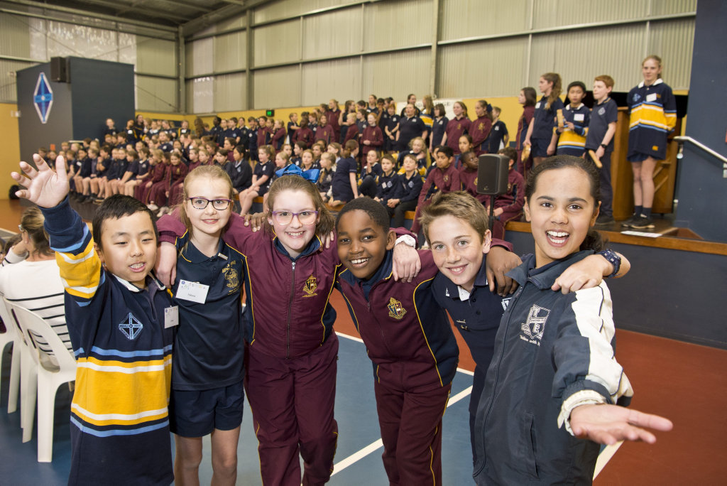Image for sale: School music leaders excited to perform (from left) Leon Wen, Nikara Janke, Anna Gouldson, Tawana Ngorima, Ethan Strout and Sophie Khan as Middle Ridge State School host a combined choir with Toowoomba East State School and TACAPS choirs, Wednesday, August 29, 2018.