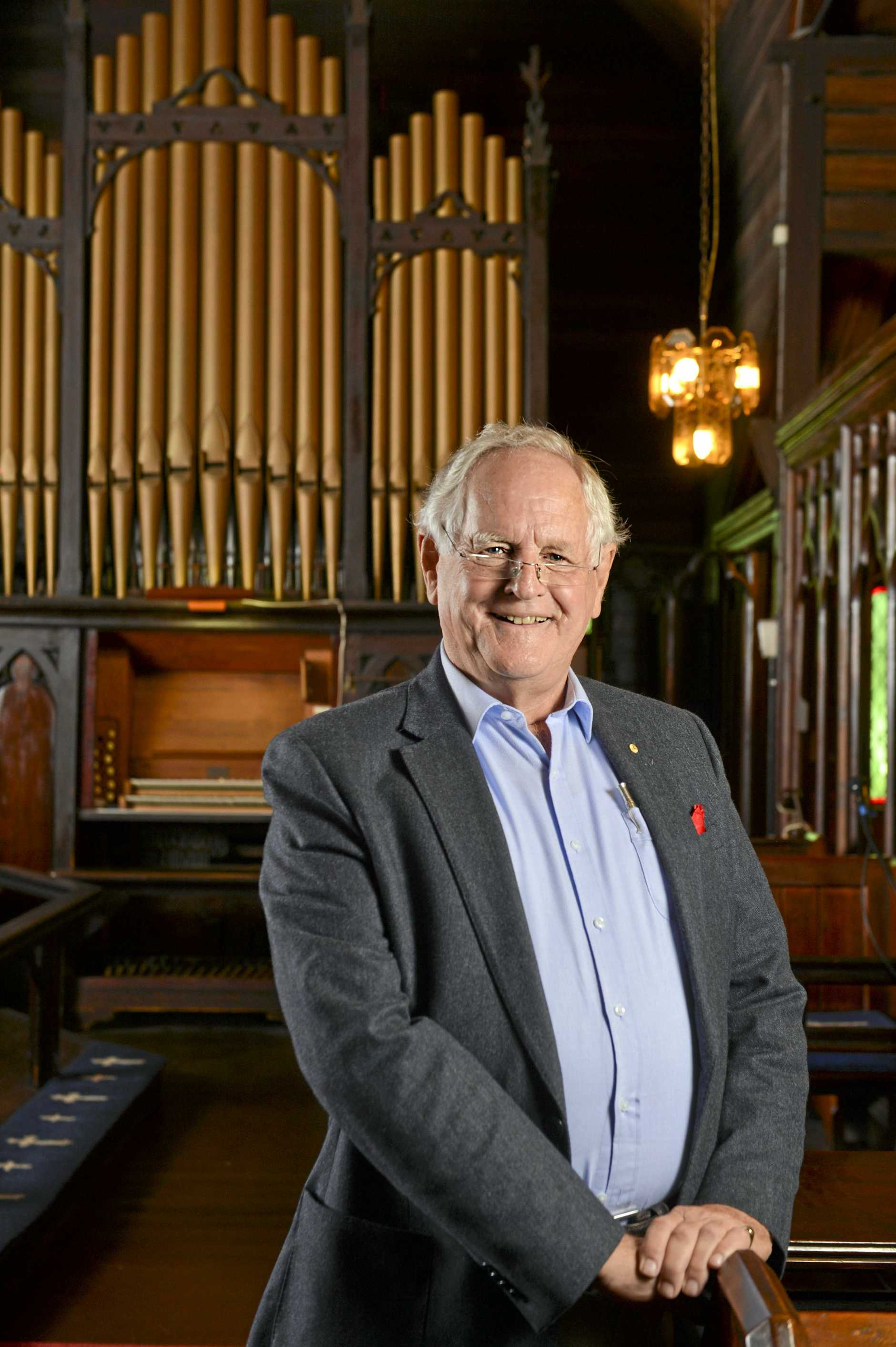 TUNE UP: David Vann OAM, Patron of the Organ Restoration Appeal at St Thomas' Anglican Church.