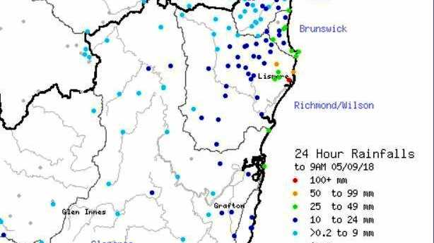 BoM rainfall totals for 24 hours.