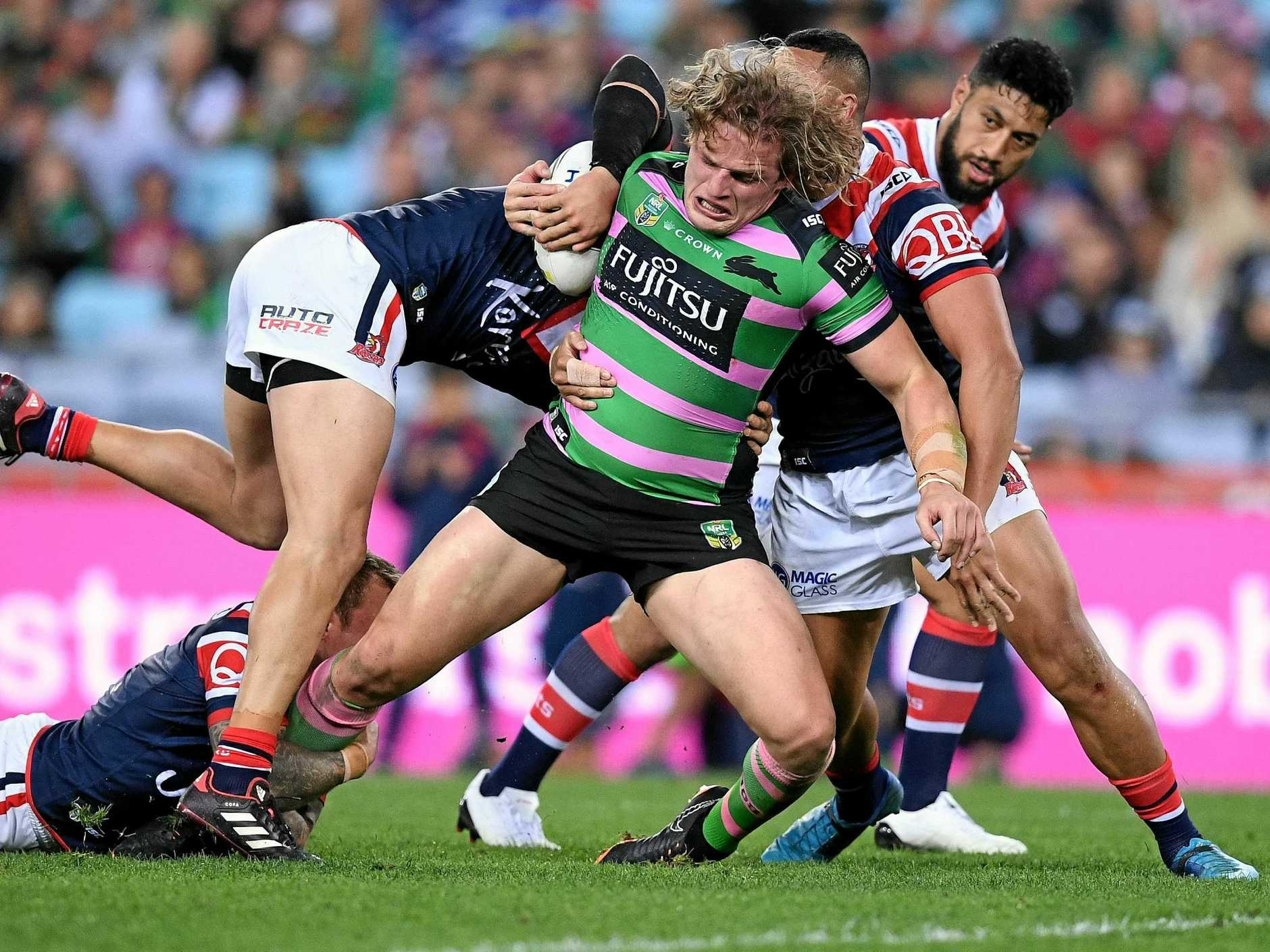 George Burgess will be joined by brothers Tom and Sam in the Rabbitohs' forwards. Picture: Dan Himbrechts/AAP
