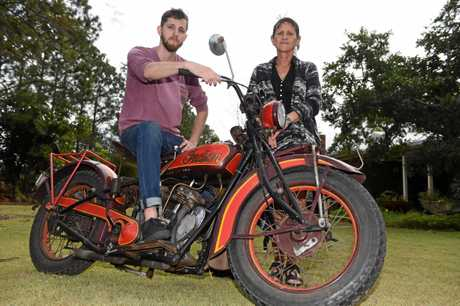 PAYING TRIBUTE: Robert's son William and his widow Gillian Kerr with one of the family's loved vintage bikes.
