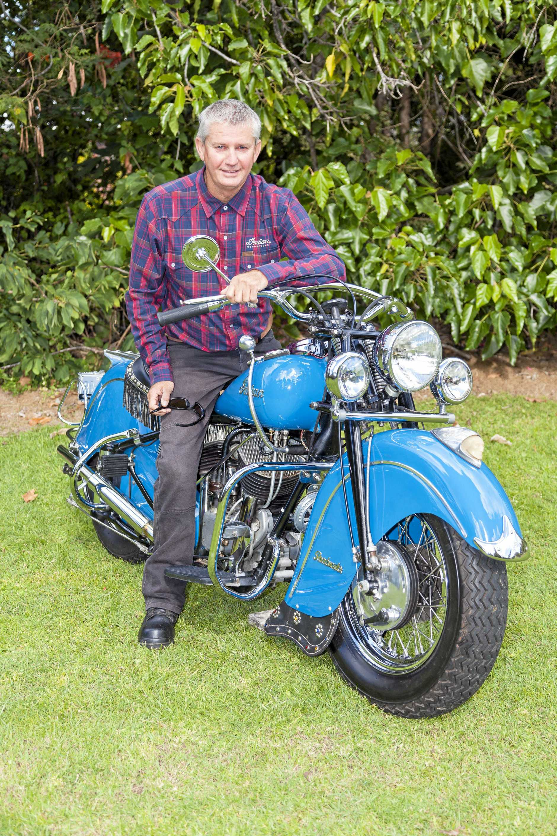 Robert Kerr on his iconic blue 1948 Indian Chief Roadmaster bike in a photoshoot before he died.