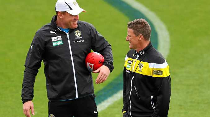 Richmond assistant coach Justin Leppitsch and head coach Damien Hardwick have turned the Tigers into something special.  Picture: Scott Barbour/Getty