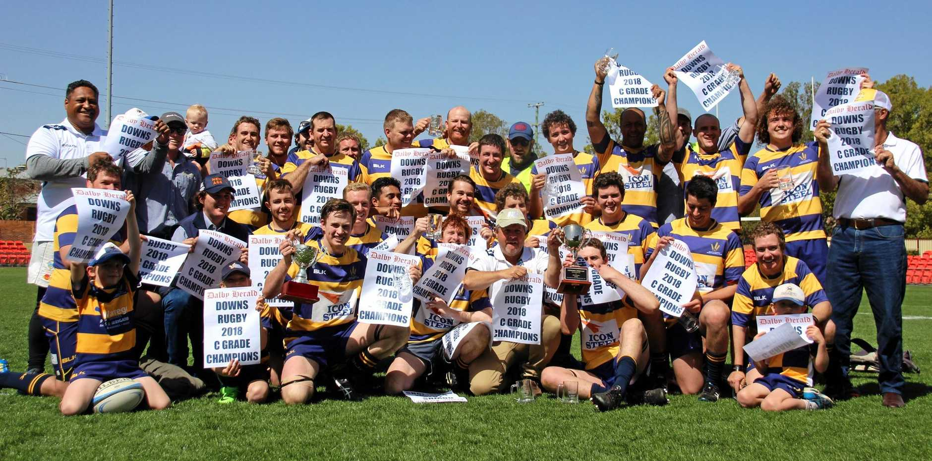 CHAMPIONS: The Dalby Wheatmen C-grade players celebrate their grand final victory over Chinchilla.