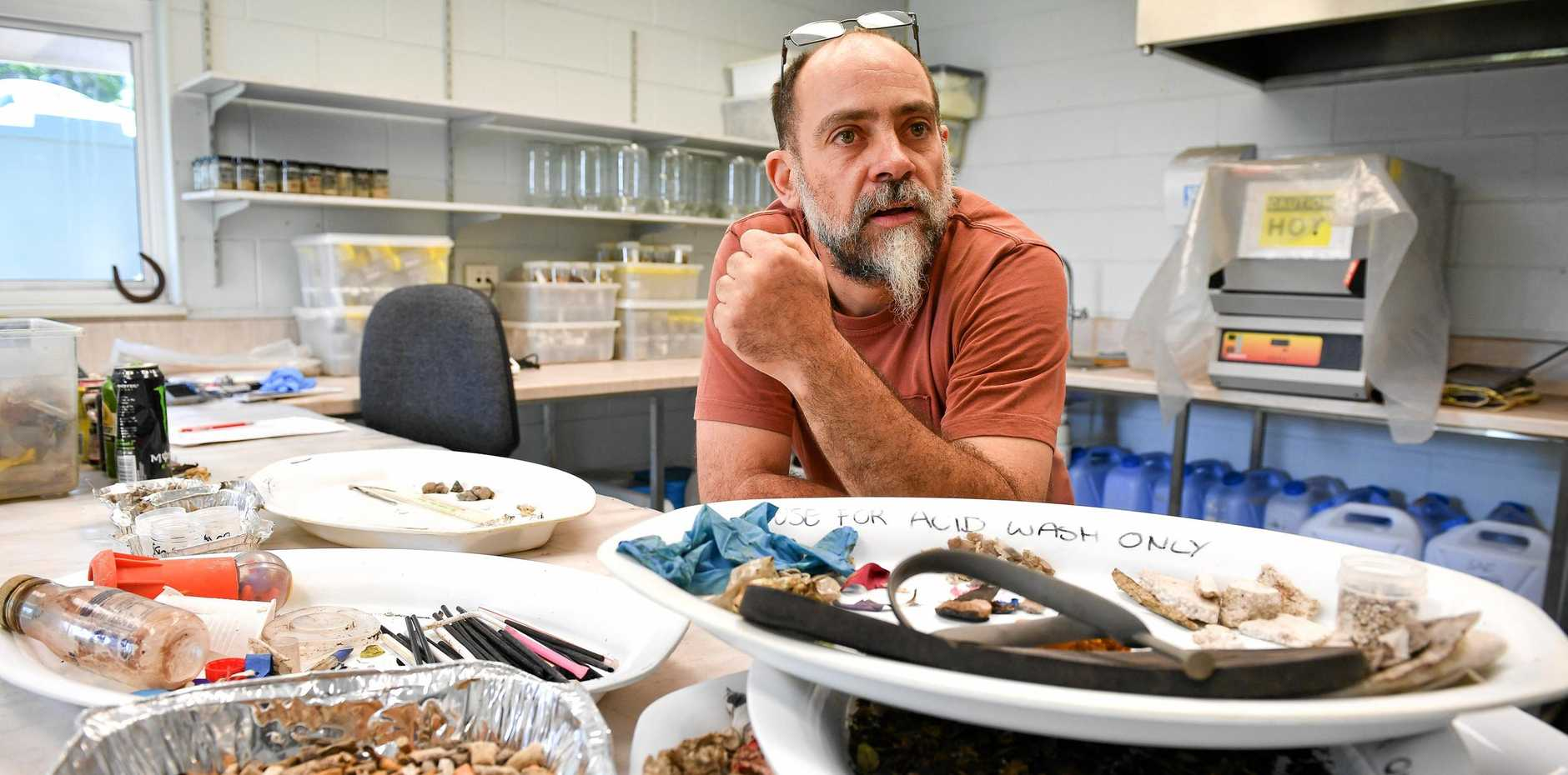 CONSERVATION KEY: Karl French, pictured with marine debris collected over three months in the Gladstone Harbour, has been nominated as chair of Gladstone's Local Marine Advisory Committee.