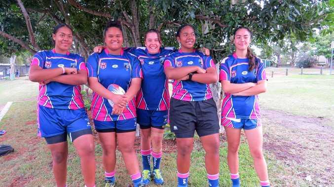 GIRL POWER: Stanthorpe girl Shanea Irwin (centre) has played a successful season of football in Brisbane. Pictured are Sala Koroi (from left), Kitana Natapu, Shanea Irwin, Adi Koroi and Jaya Crawford.