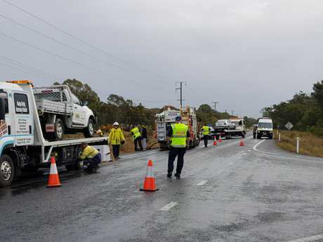 ROLLOVER: Traffic delays are expected at Booral Rd, Nikenbah after a car rolled over in a two-vehicle crash.