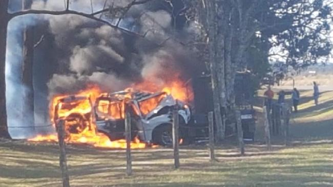 Alex Adoberg of Atherton Christmas Tree Farm, and his nine-year-old son, Eli, have made a lucky escape after their vehicle left the road about 3km from their Tablelands home, crashing head first into a tree before catching fire.