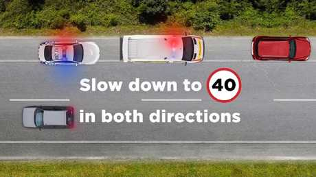Car's travelling in both directions are required to slow down to 40km/h unless there is a median strip on the road. Picture: NSW Police/Twitter