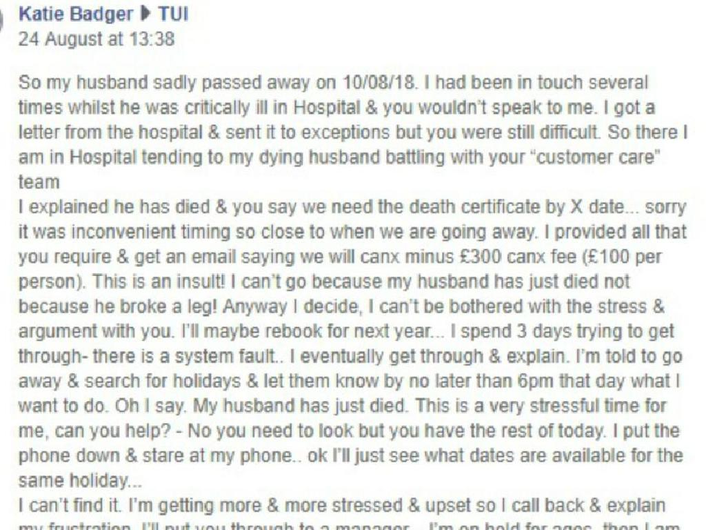 Mrs Badger was left with no option but to approach the company on Facebook. Picture: Deadline News