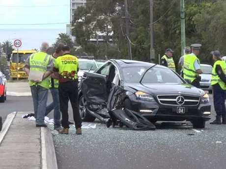 The crash scene at the intersection of Connels Road and The Kingsway, Cronulla. Picture: TNV
