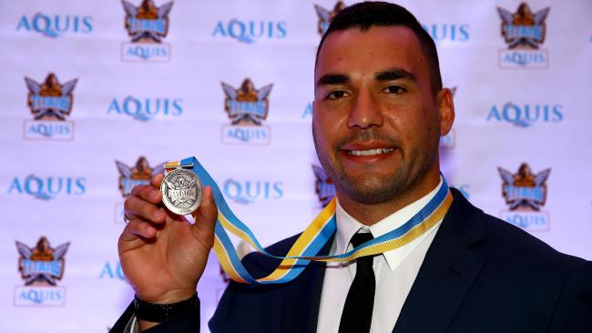 Ryan James with his first Paul Broughton Medal in 2016. Photo: David Clark