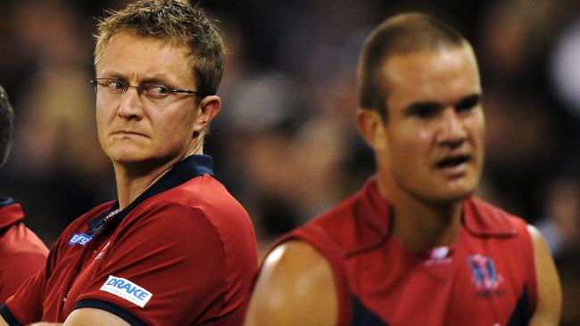 NAB Cup. Melbourne v Collingwood. Etihad Stadium. Coach Mark Neeld looks at Green after coming off the ground.