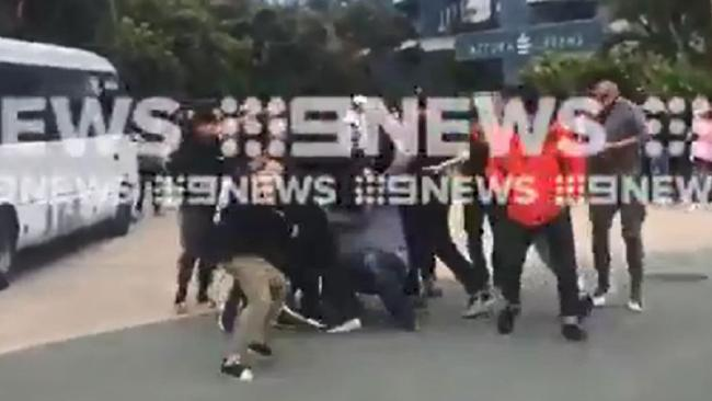 Footage of the brawl captured on a mobile camera. Images: Nine Gold Coast News