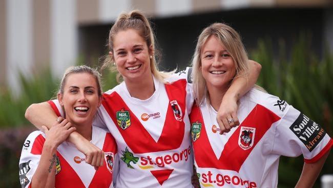 St George-Illawarra Dragons Sam Bremner, Kezie Apps and Talesha Quinn. Pic: Phil Hillyard