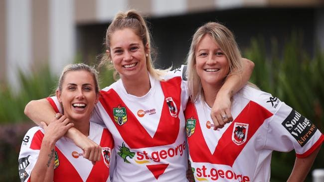 St George-Illawarra Dragons Sam Bremner, Kezie Apps and Talesha Quinn. Pic: Phil Hillyard