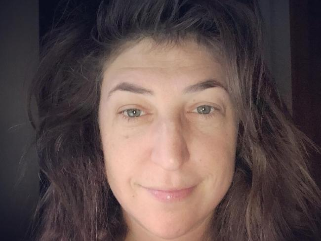 Mayim Bialik shows off her straight-out-of-bed look.