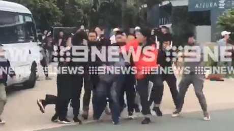 Five people were arrested over the alleged assault. Images: Nine Gold Coast News