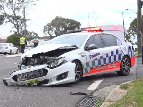 A NSW Police vehicle has been involved in an MVA on Wednesday, September 5, 2018 at the intersection of Connels Road and The Kingsway, Cronulla. One person is in a serious condition in hospital. Picture: TNV