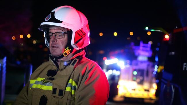 NSW Fire Brigade Commander Duncan White on scene. Picture: Bill Hearne