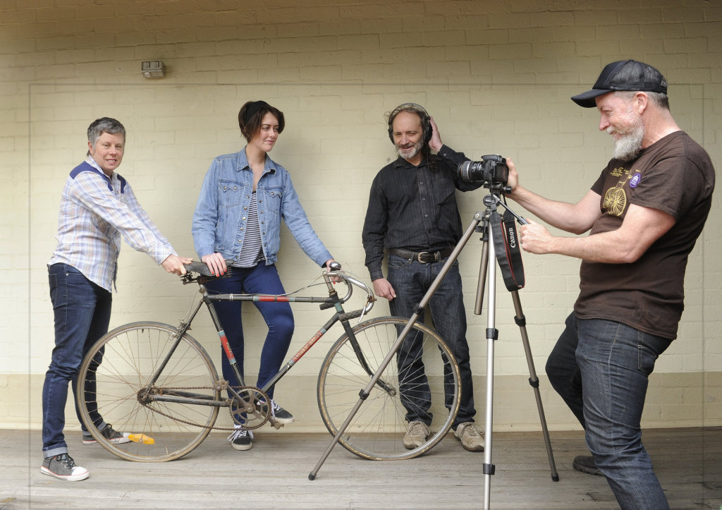FILM CREW: Script writer Sammy Lovejoy, actor Meg Lucas, composer Craig Freeman and director Danny Loyden prepare to embark on animation film project Cadence at Grafton Regional Gallery for the Bike Town exhibition in 2019.