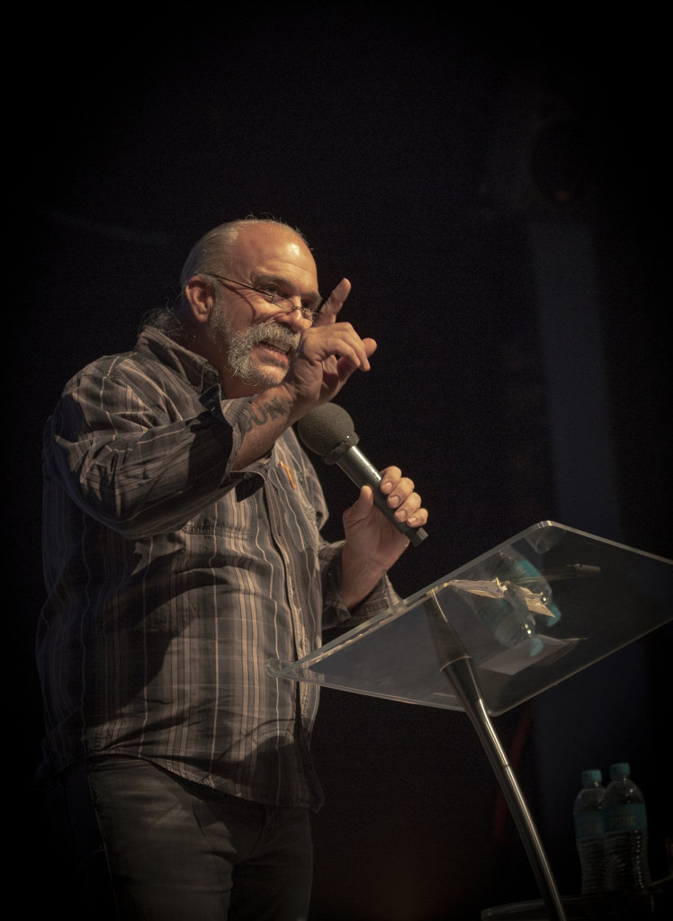 Sam Childers speaking at an event in Adelaide.
