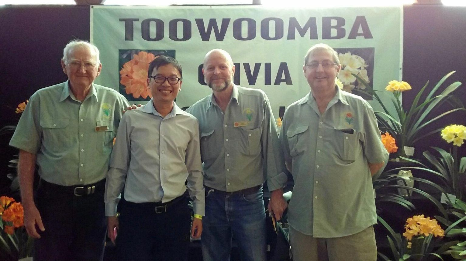 SPRING TIME: Toowoomba Clivia Society club members (from left) Graham Cottee, Felix Loh, Chief Operating Officer of Gardens by the Bay in Singapore with club members Greg Anderson and Ray Robinson.