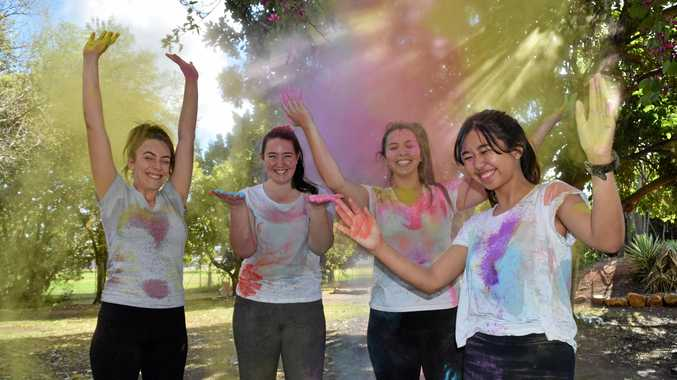 VIBRANT OUTING: Taylah Chant, Caitlin Brewer, Andie-lee Cilliers and Micah Pagtalunan are excited for the colour run on Sunday, September 16.
