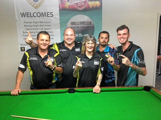 PRIZES POCKETED: Eightball A-grade winners; Allan Davies, Marcus Hansen, Colleen Pershouse, Shane Barnes and Tom Johnson.