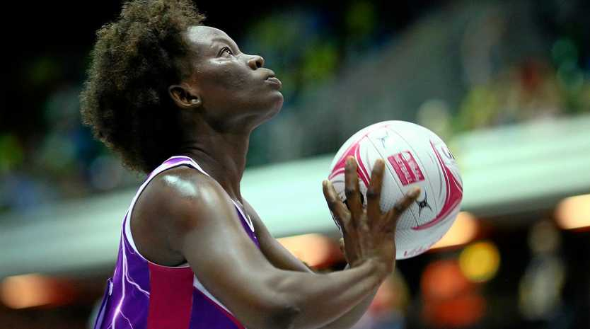 LONDON, ENGLAND - JULY 07: Peace Proscovia of Lightning in action during the Vitality Netball Superleague Grand Final between Loughborough Lightning and Wasps at Copper Box Arena on July 7, 2018 in London, England. (Photo by Charlie Crowhurst/Getty Images)