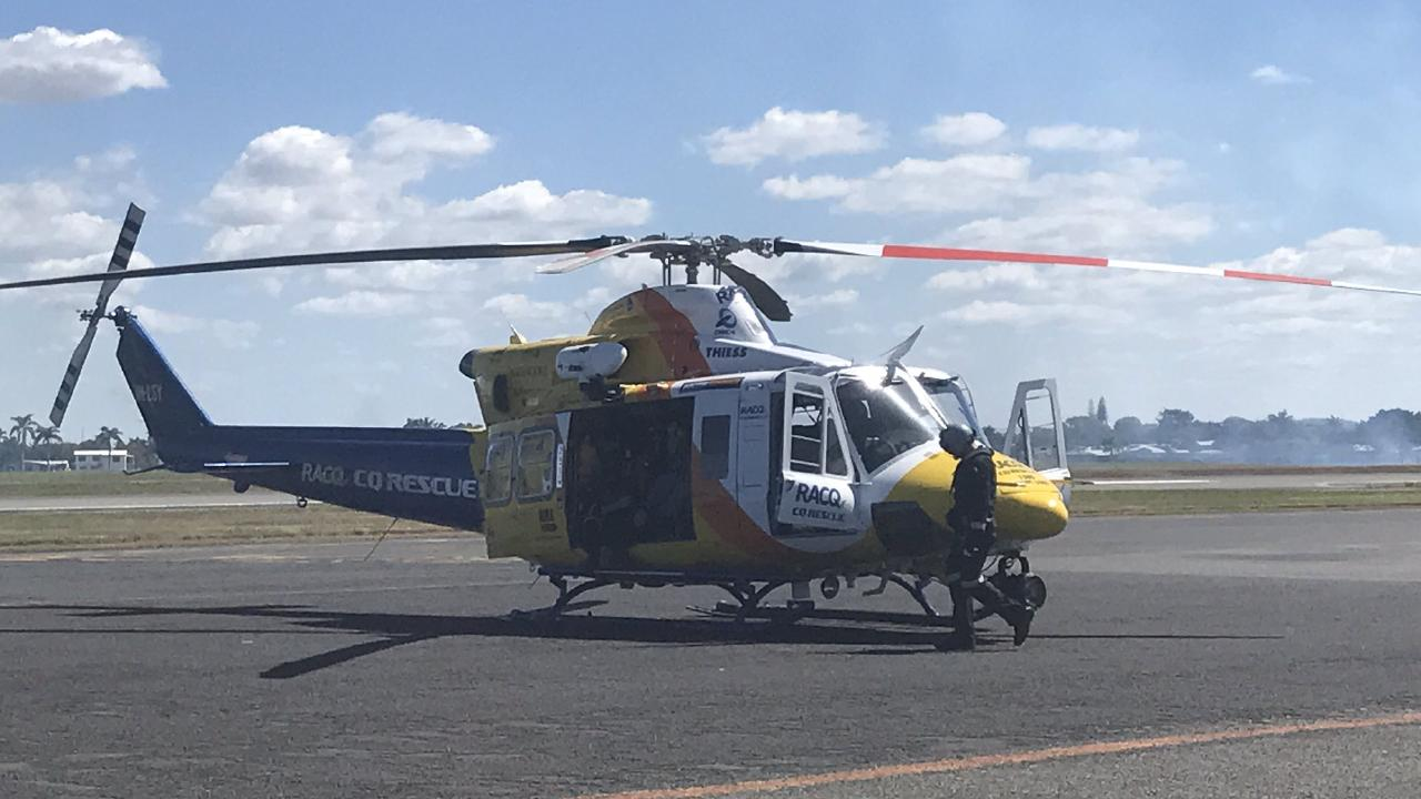 The RACQ LifeFlight helicopter is on the way to a crash at Moranbah in the state's north. Picture: RACQ LifeFlight