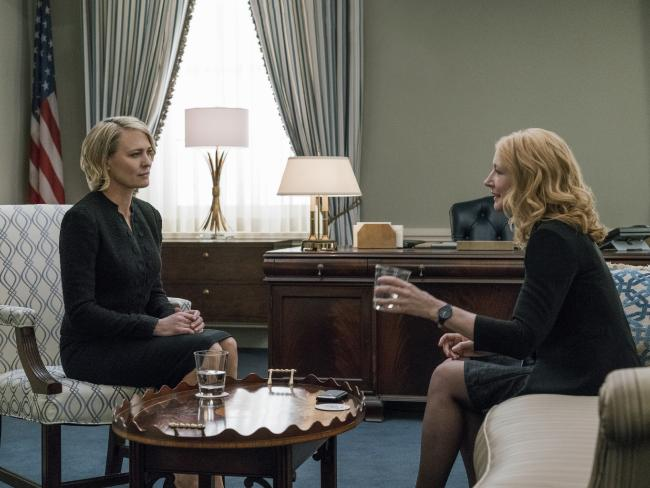 Robin Wright as Claire Underwood and Patricia Clarkson as Jane Davis in a scene from House of Cards. Picture: Netflix