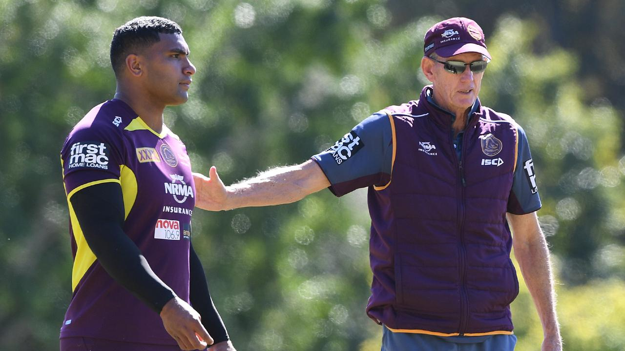 Tevita Pangai Junior and coach Wayne Bennett at a Broncos training session. Picture: Dave Hunt/AAP