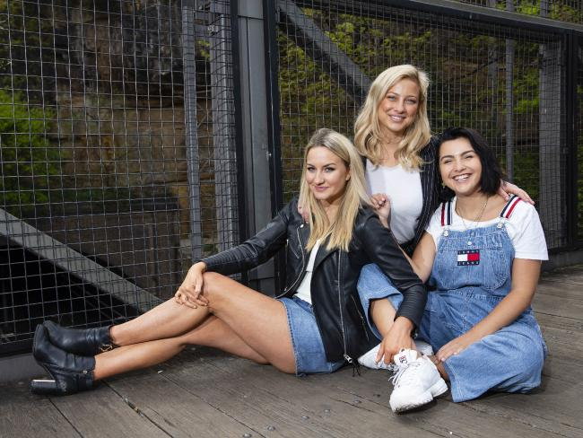 Eliminated Bachelor trio, Alisha Aitken-Radburn, Romy Poulier and Cat Henesy Smith have been labelled as the villains. Picture: Justin Lloyd