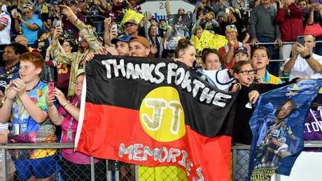North Queensland fans gave Johnathan Thurston a fond farewell. Pic: Darren England