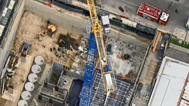 Aerial shots of the construction site on Whitehorse Road, Box Hill. Picture: Nine News