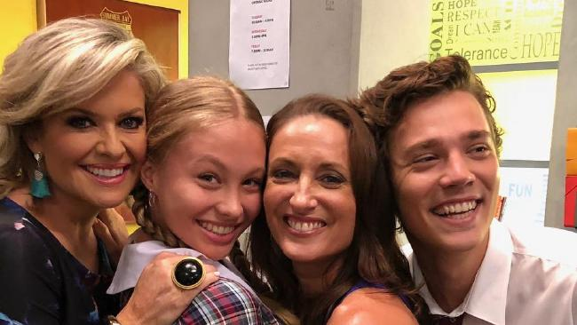 Olivia Deeble with fellow Home and Away stars during filming. Picture: Instagram