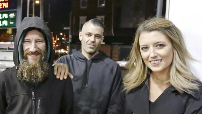 "Kate McClure and Mark D'Amico (centre) raised money for homeless veteran Johnny Bobbitt (left), but the money is reportedly ""gone"". Picture: AP"