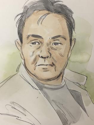 Court sketch of Ah Ping Ban, 65.