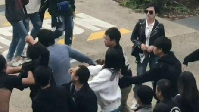 Footage of the brawl. Picture: 9 News