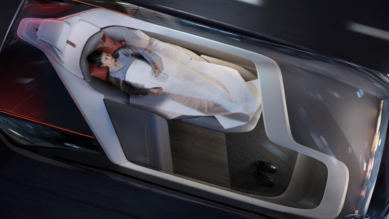 Captain snooze: Volvo 360c autonomous concept doubles as a sleeper cabin.