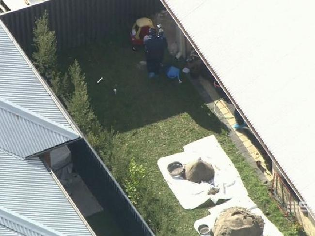 Forensic officers began digging up the backyard of the Perth home on Wednesday. Picture: 9News