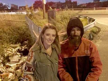 Homeless man Johnny Bobbitt gave Kate McClure his last $20 when her car ran out of petrol. Picture: GoFundMe